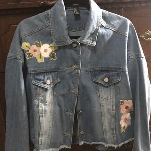 Forever 21 Jean jacket with embroidered designs